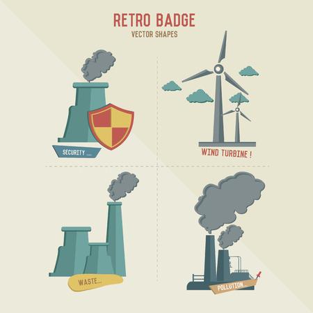 Pollution and nuclear symbol retro design,vector Vector