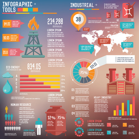 mineral oil: Oil Industry Infographic Elements on blur background,clean vector