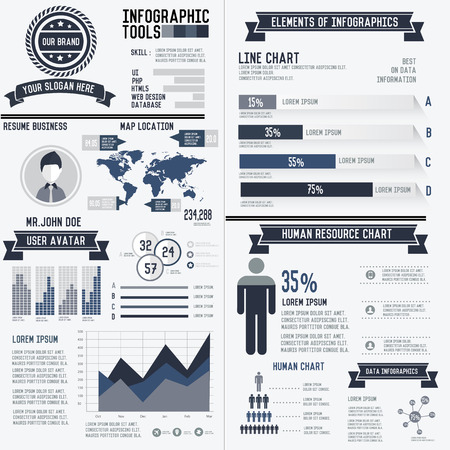Corporate infographic resume elements data template on white background,vector Vector