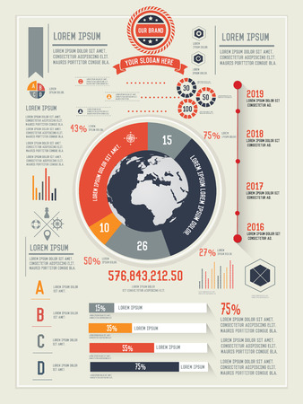 demography: Global and business info graphic design clean  Illustration