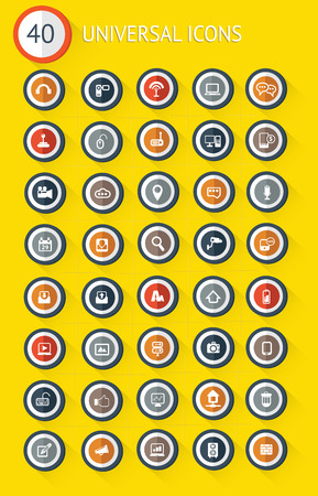 nota: 40 Universal website flat icon set on yellow background,vector Illustration