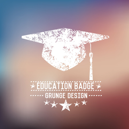 Hat education badge on blur background,vector Vector