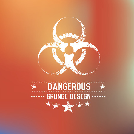 Dangerous badge on blur background,vector Ilustração