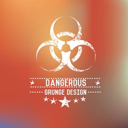 Dangerous badge on blur background,vector Illustration