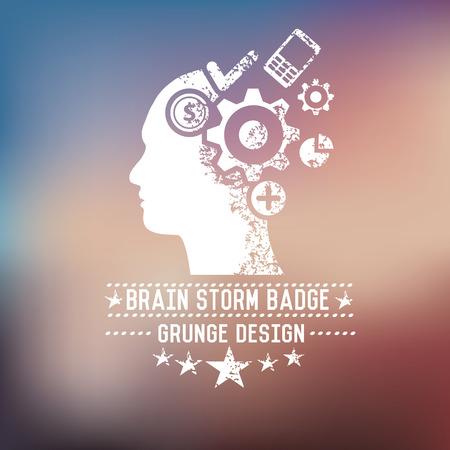 brain storm: Brain storm badge on blur background,vector