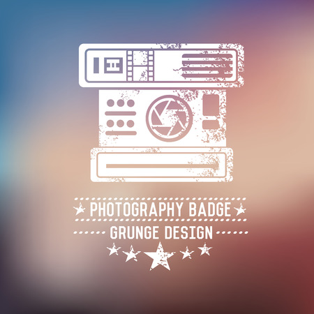 Photography badge on blur background,vector Vector