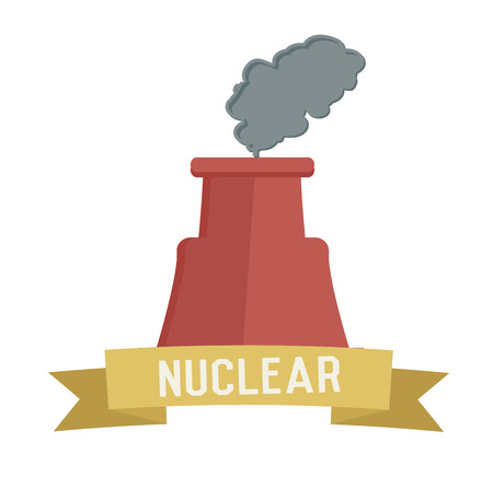 Nuclear symbol on white background,Retro colour concept,clean vector Vector