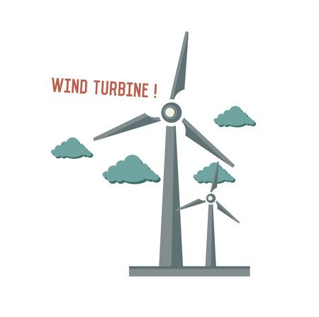 wind vane: Wind turbine symbol on white background,Retro colour concept,clean vector