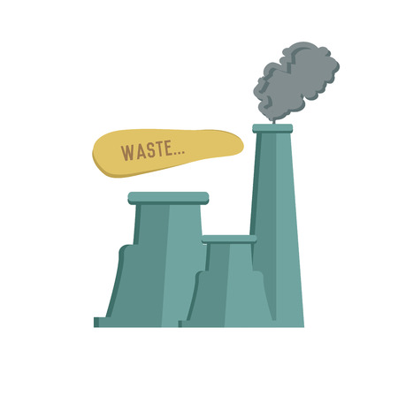 powerhouse: Pollution symbol on white background,Retro colour concept,clean vector Illustration