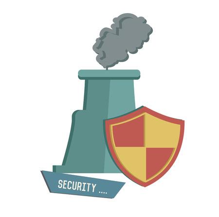 nuclear symbol: S�mbolo nuclear seguridad en el fondo blanco, el concepto del color retro, vector limpia