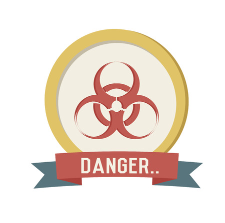Danger symbol on white background,Retro colour concept,clean vector