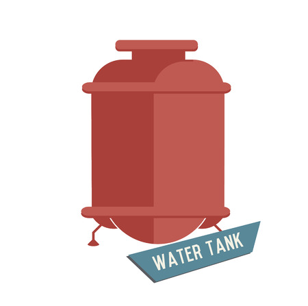 fuel storage tank: Water tank symbol on white background,Retro colour concept,clean vector Illustration
