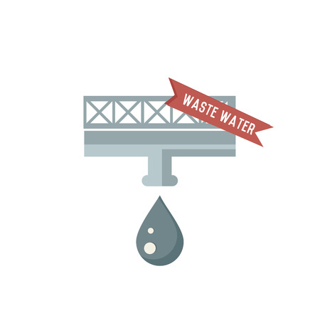 Waste water symbol on white background,Retro colour concept,clean vector Vector