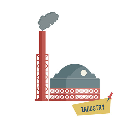 distillery: Factory symbol on white background,Retro colour concept,clean vector