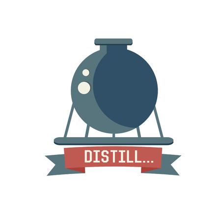 distill: Distill symbol on white background,Retro colour concept,clean vector