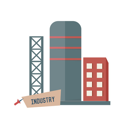 Catalyst: Factory symbol on white background,Retro colour concept,clean vector