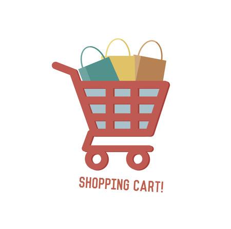 shopping center: Shopping cart concept design,retro design on white background,clean vector