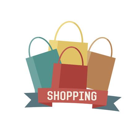 Shopping concept design,retro design on white background,clean vector Vector