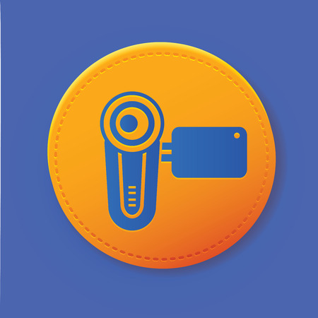 Video symbol on yellow button,vector Vector