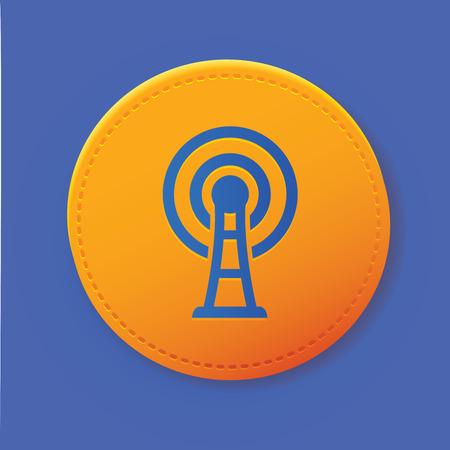 satellite transmitter: Wireless symbol on yellow button,vector Illustration