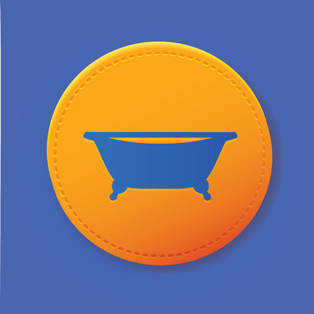 Bathroom symbol on yellow button,vector Vector