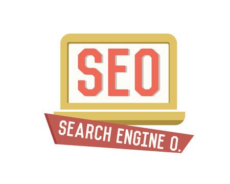 SEO symbol on white background,Retro colour concept,clean vector Vector