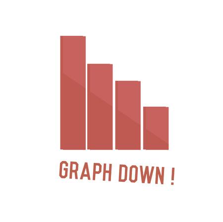 stockmarket: Graph down concept design,retro design on white background,clean vector
