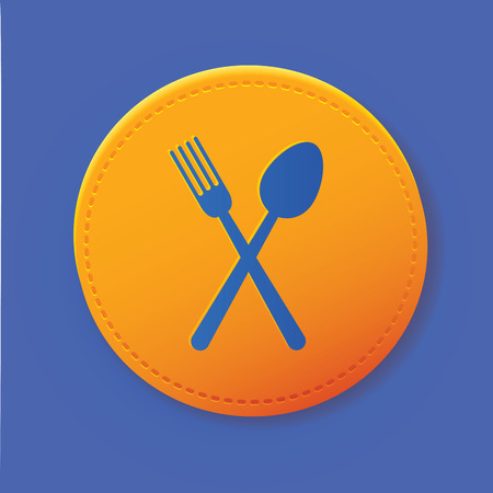 rt: Spoon symbol on button,vector