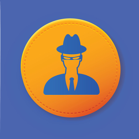 mal: Spy symbol on button,vector