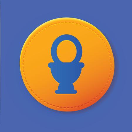 bowel: Toilet symbol on button,vector Illustration