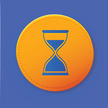 timepieces: Hourglass symbol on yellow button,vector Illustration