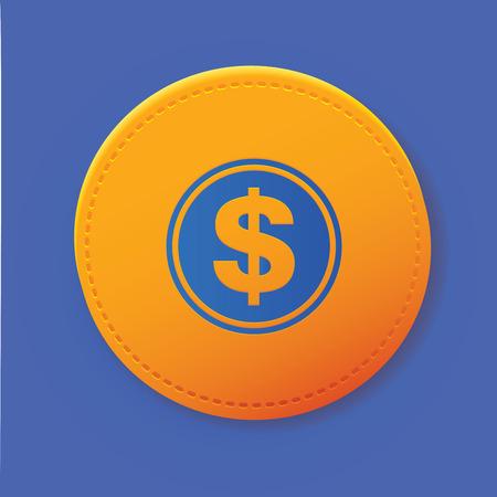 monet: Dollar symbol on yellow button,vector