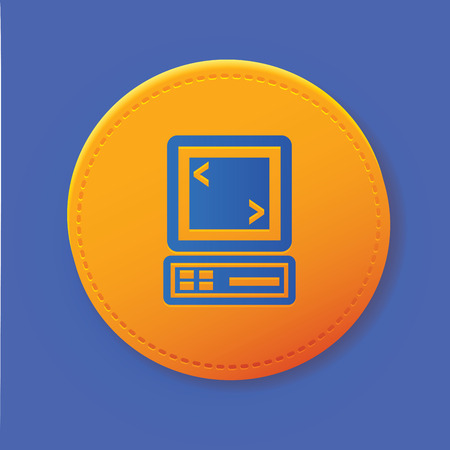 compute: Computer symbol on yellow button,vector