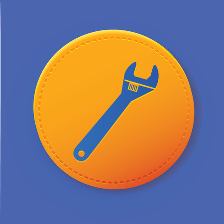 turn screw: Repair symbol on yellow button,vector