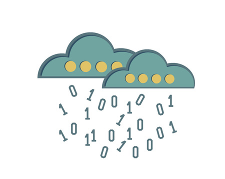 Cloud computing symbol on white background,Retro colour concept,clean vector Vector