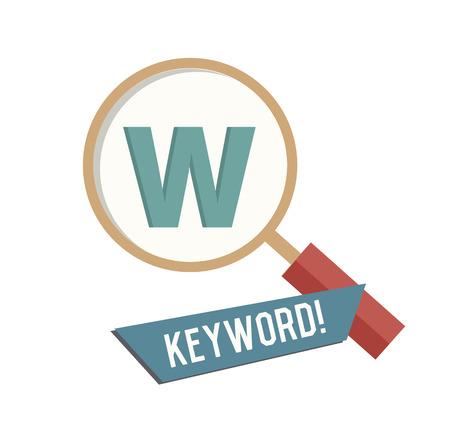 keywords: Keyword symbol on white background,Retro colour concept,clean vector