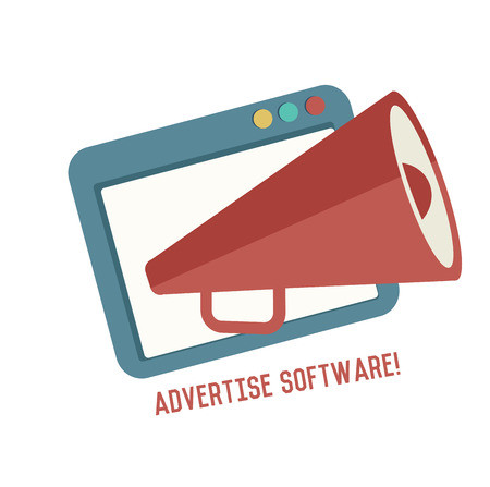 Advertise software symbol on white background,Retro colour concept,clean vector Vector