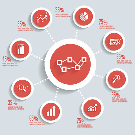 Analysis info graphic design concept red version,clean vector Vector