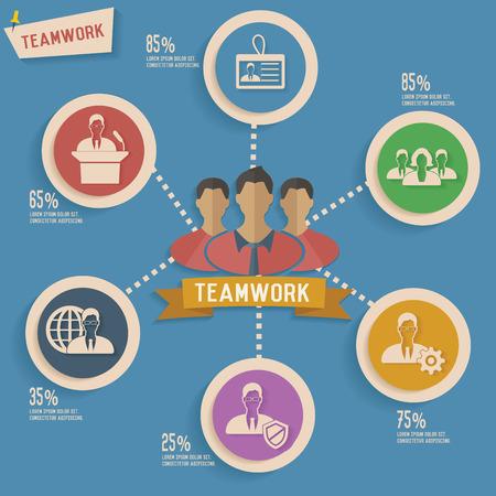 bue: Teamwork and human resource info graphic design