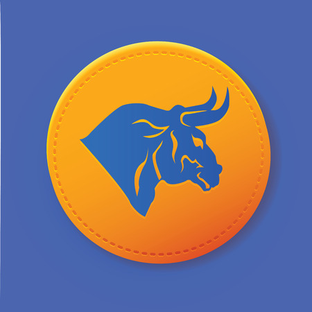 cow teeth: Bull on yellow button