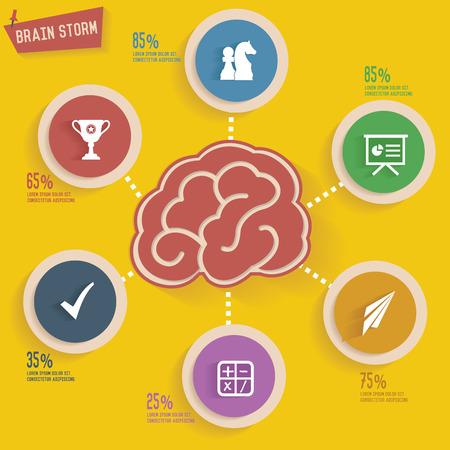 brain storm: Brain storm concept info graphic design Illustration