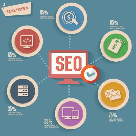 SEO concept info graphic design Vector