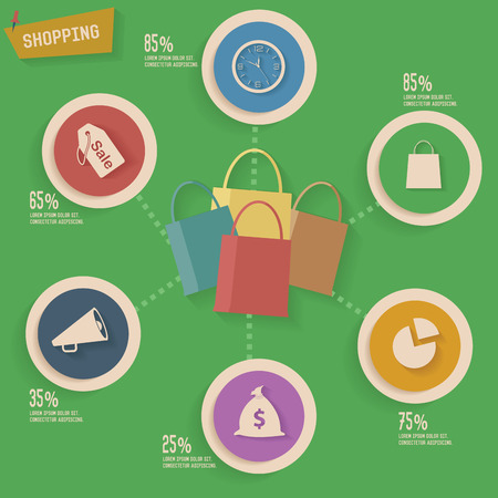 Shopping concept info graphic design Vector