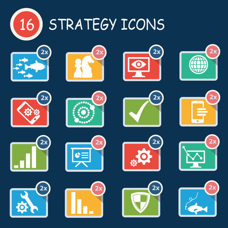 Strategy of business icon set,clean vector Vector