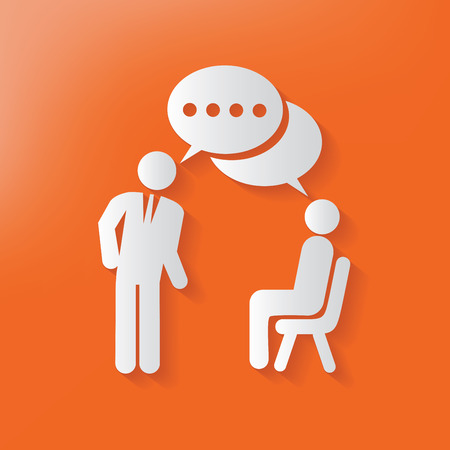 two people meeting: Human resource symbol,clean vector