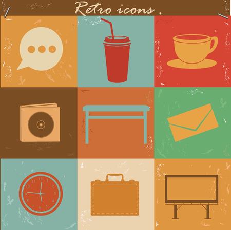 Office icons,retro vector Vector