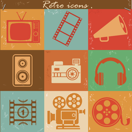 pg: Entertainment icons,retro vector