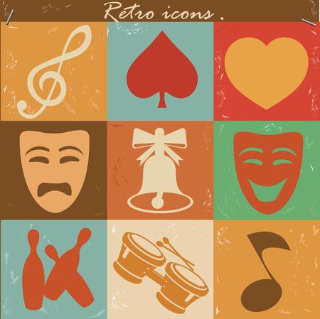 e guitar: Entertainment icons,retro vector