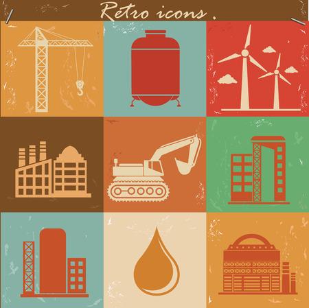 gas turbine: Industry icons,retro vector