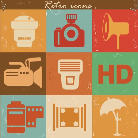 Photography icons,retro vector